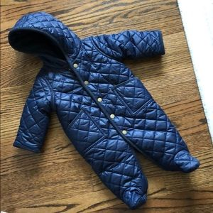 Infant navy Polo footed snow suit